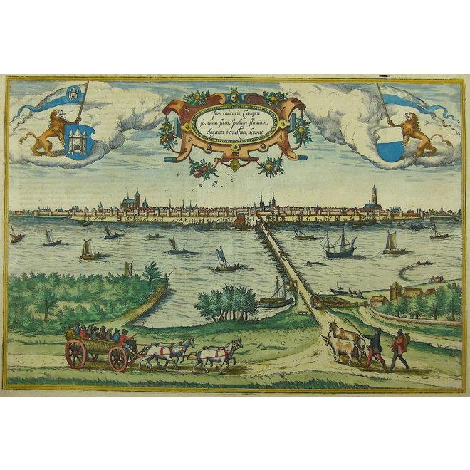Collectie Gouldmaps - Kampen; G. Braun / F. Hogenberg - Icon civitatis Campensis (..)  - 1575