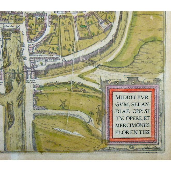 Collectie Gouldmaps - Middelburg; G. Braun / F. Hogenberg - Middelburgum Selandiae Opp. (..) - 1575