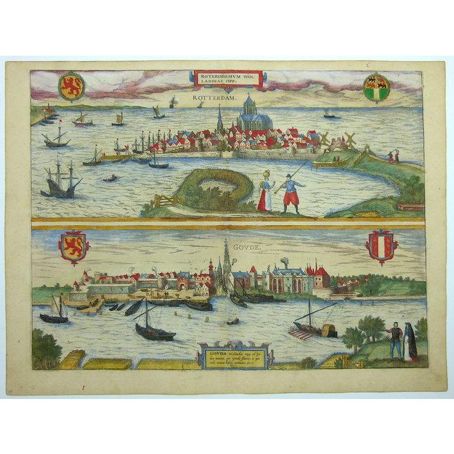 Collectie Gouldmaps - Rotterdam en Gouda; G. Braun / F. Hogenberg - Roterodamum en Gouda Hollandiae Opp. (..) - 1581