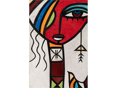 Craftzz Leather Art African Woman in Red