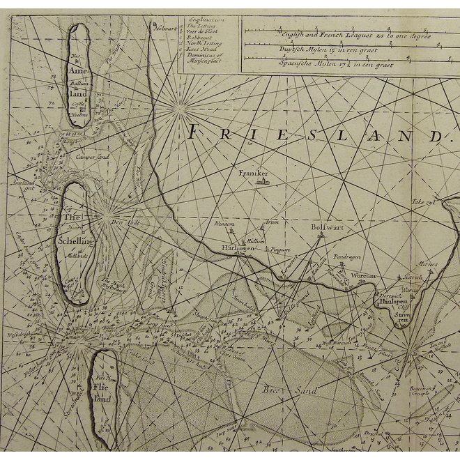 Waddenzee, IJsselmeer; S. Thornton - A chart of the South Sea Texel & ye Fliestream with ye Amelander gat. - 1756