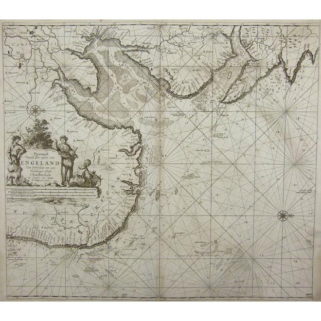 Collectie Gouldmaps - Noordzee, Engeland; J. van Keulen - Pas-caert Vande Zee cussen van Engeland van Orfordness tot aen Flamborger Hoost. - 1685 ca.