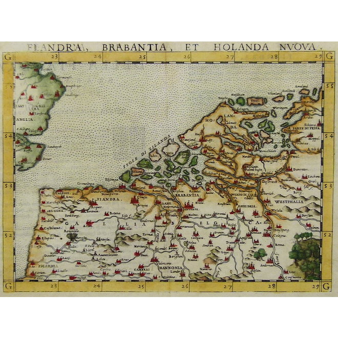 Collectie Gouldmaps - De lage landen; G. Ruscelli - Flandra Brabantia et Holanda Nvova - 1561