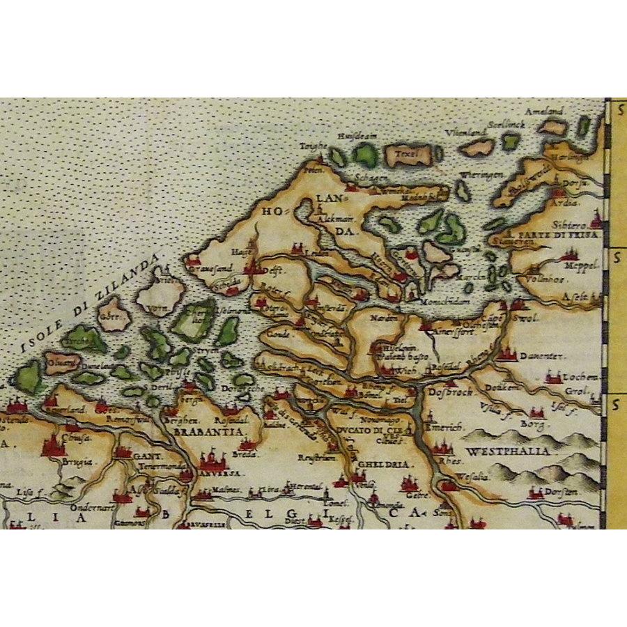 Gouldmaps De Nederlanden; G. Ruscelli - Flandra Brabantia et Holanda Nvova - 1561