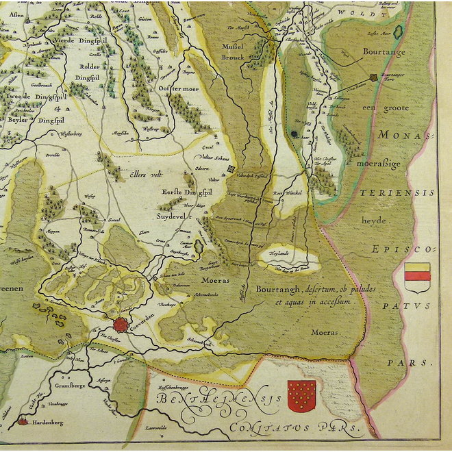 Verkocht - Collectie Gouldmaps - Drenthe; W. & J. Blaeu - Drentia Comitatus. - 1635-1660