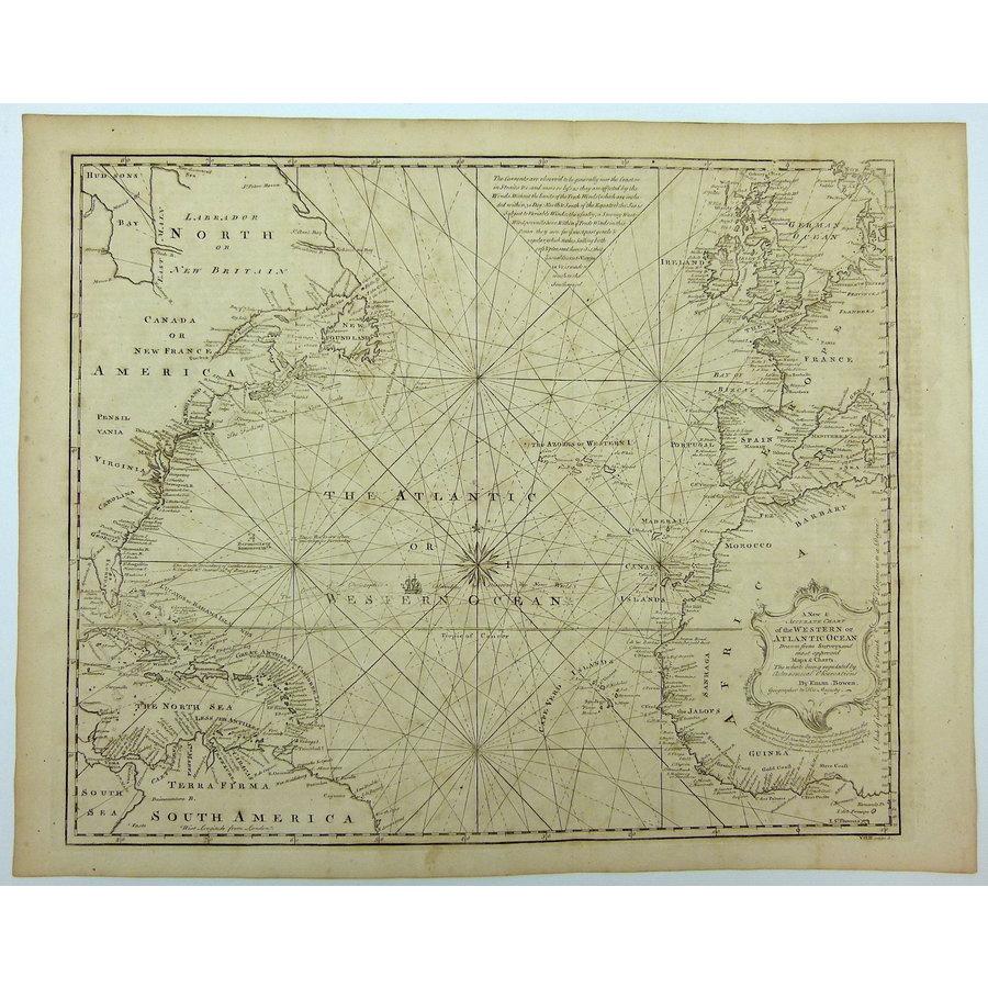 Gouldmaps Atlantische Oceaan ; E. Bowen - Chart of the Western of Atlantic Ocean. - 1764