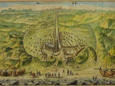 Gouldmaps Scheveningen / Den Haag - G. van Giesen - Afbeeldinge van Schevelinge (..). - 1730