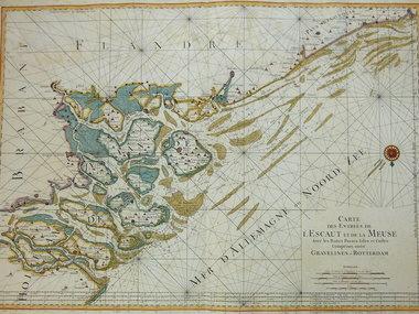 Gouldmaps Noordzee Maasmonding; P. Mortier - Carte des Entrés de L'Escaut et de la Meuse (). - 1693