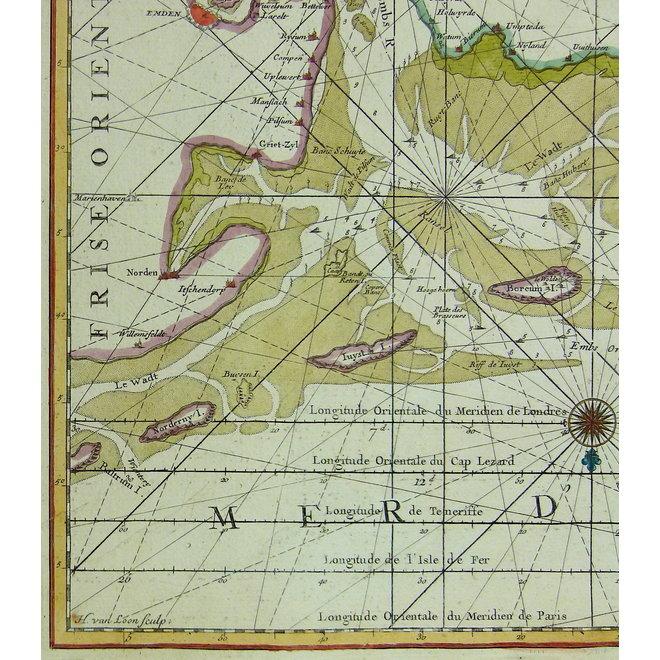 Waddenzee, IJsselmeer; P. Mortier - Carte des Entrees du Suyder Zee (..). - 1693