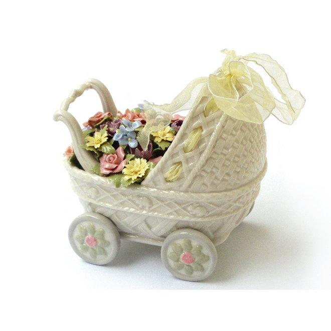 Porseleinen Kinderwagen met Bloemen