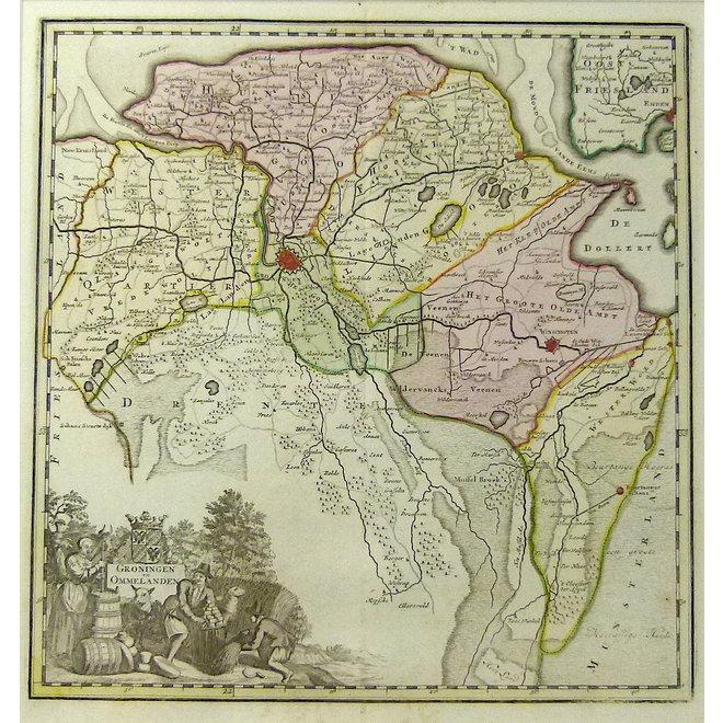 Collectie Gouldmaps - Groningen; I. Tirion - Groningen en Ommelanden - 1740 ca.