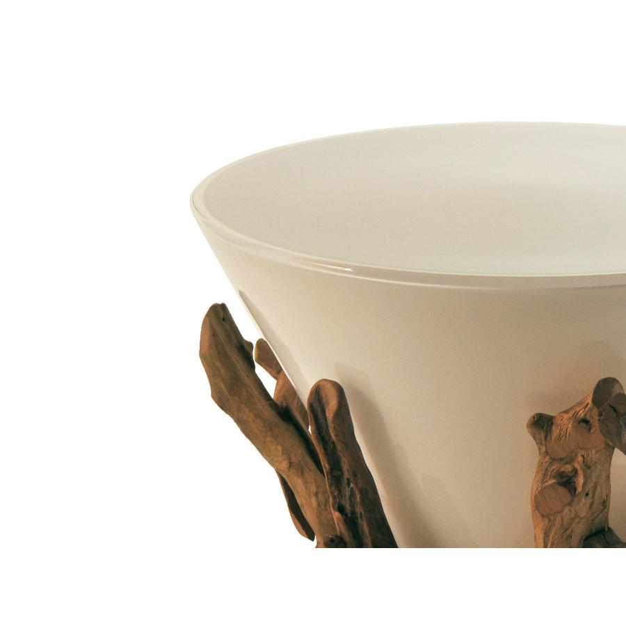 Schlittler Table Lamp Glass on Driftwood, wide
