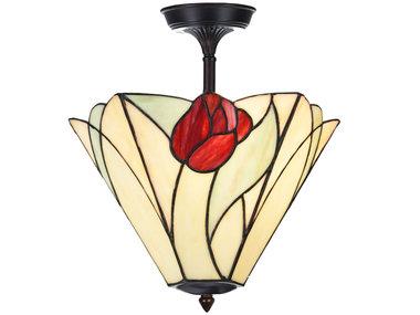 Art Deco Trade Tiffany verlengde Plafonnière Tulip