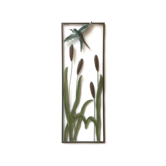 Wall Art Cattails and Swallow 90x30