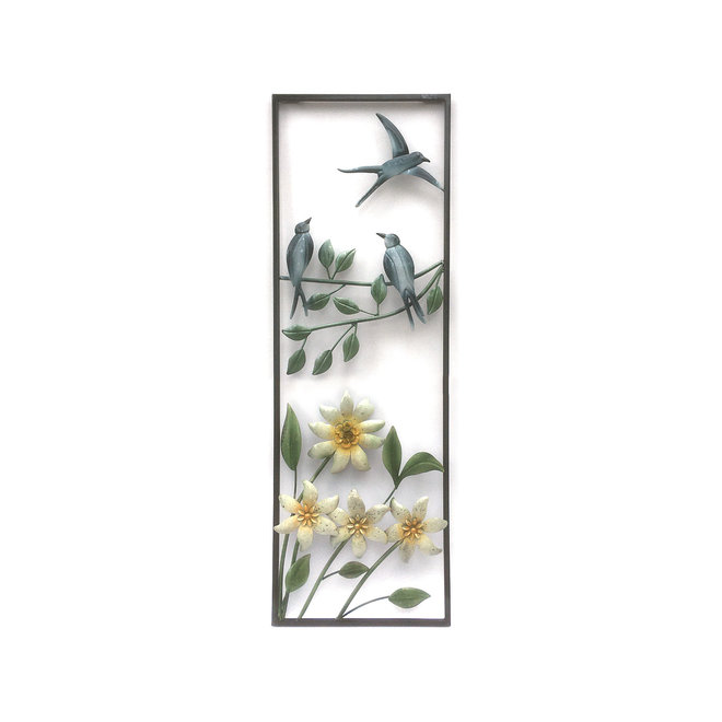 Wall Art Swallows above Flowers 90x30