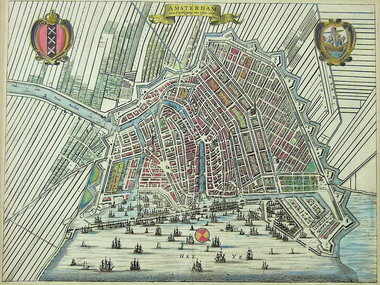 Gouldmaps Verkocht - Amsterdam - J. van Meurs - Amsterdam met d'uytlegging van 't Jaer 1613. - 1663