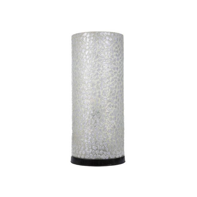 Villaflor schelpenlamp - Wangi White - tafellamp - Cilinder - 40 cm