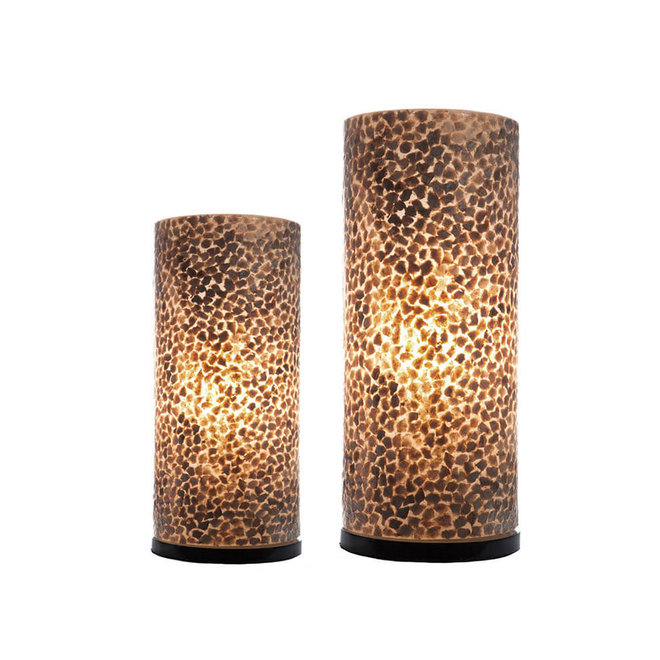Villaflor schelpenlamp - Wangi Gold - tafellamp - Cilinder - 30 cm
