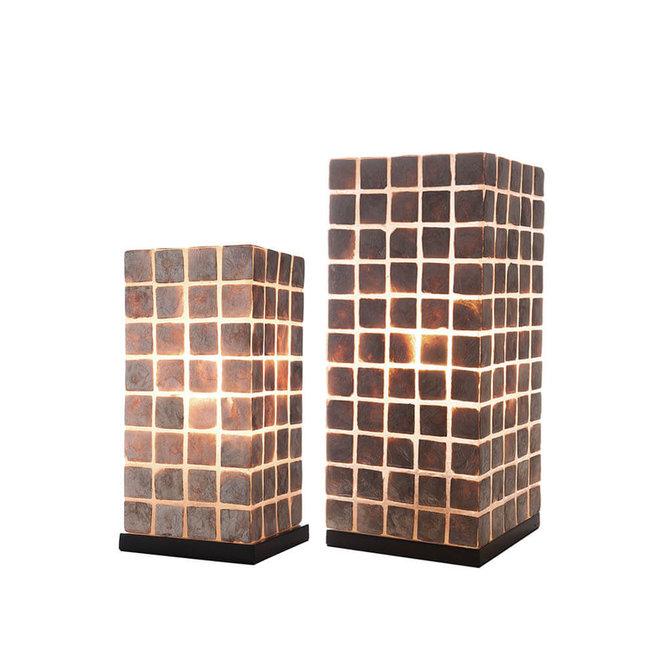 Villaflor schelpenlamp - Moni Gold - tafellamp - Vierkant - 30 cm