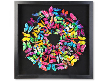 Kare Swarm of Colored Butterflies in 3D, framed in black 60x60