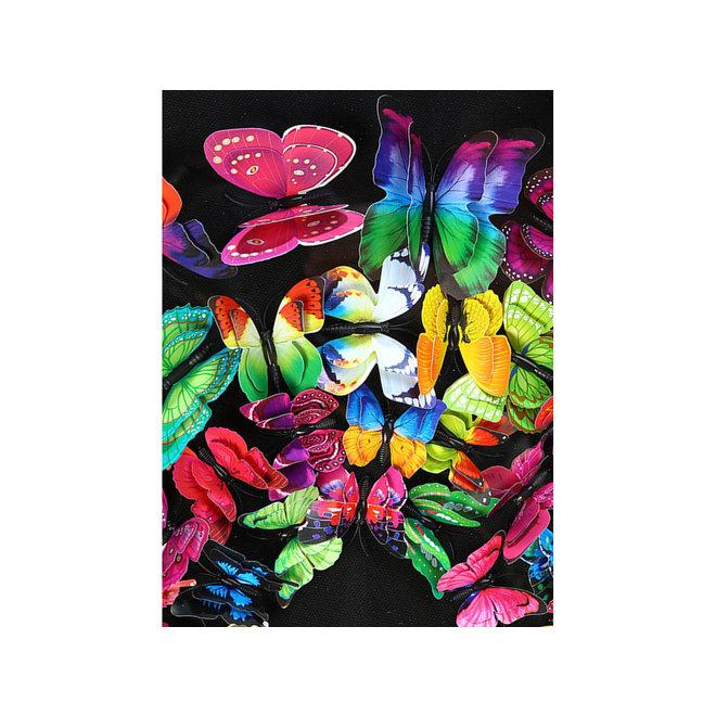 Swarm of Colored Butterflies in 3D, framed in black 60x60
