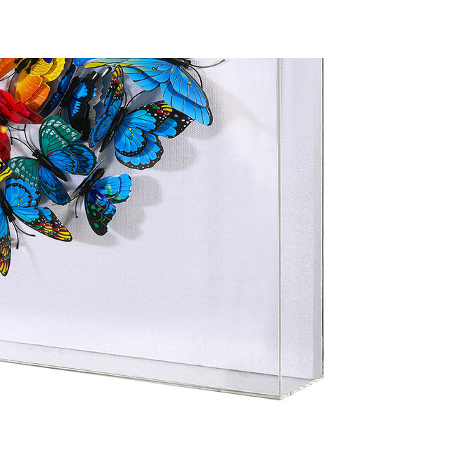 Swarm of Colored Butterflies in 3D, framed in white 60x60