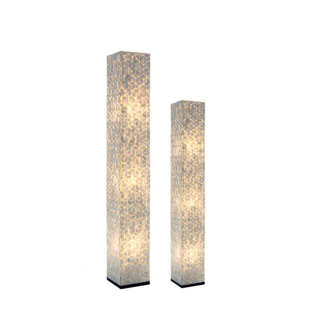 Villaflor schelpenlamp - Cubes - vloerlamp - Vierkant - hoogte 150 cm