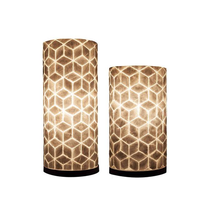 Villaflor schelpenlamp - Cubes - tafellamp - Cilinder - hoogte 30 cm