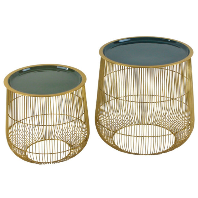 Side Table Set Cage, gold/green