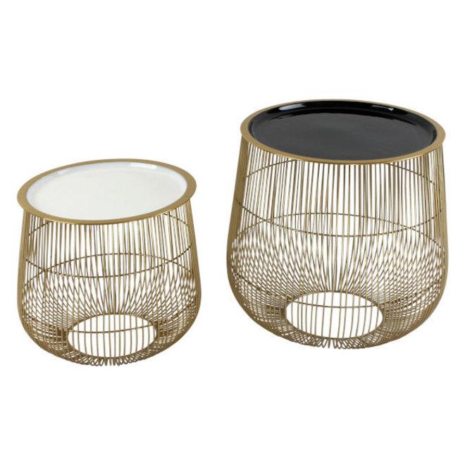 Side Table Set Cage, black/white