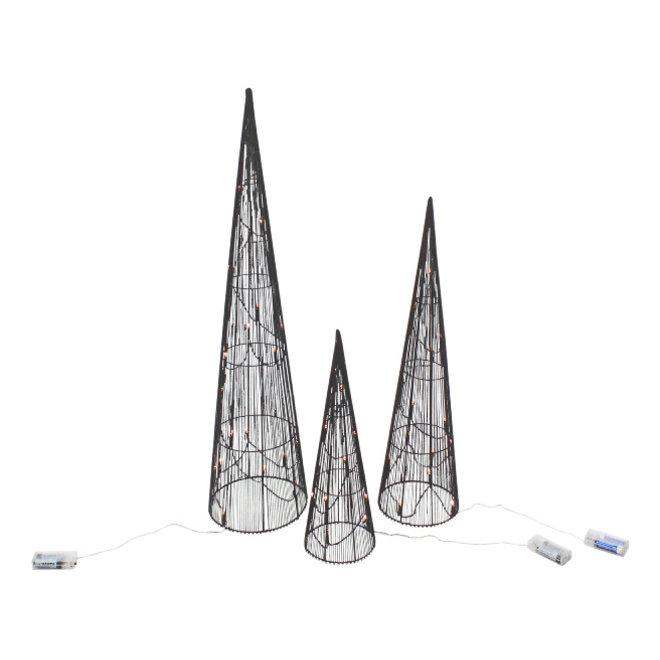 Conische LED Kerstbomen set, zwart