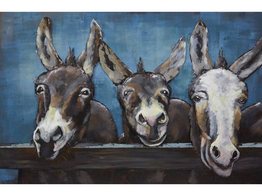 Gave Specials Metal Art Donkeys at the Gate 80x120