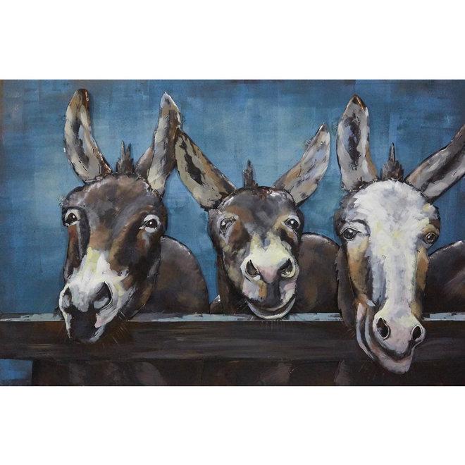 Metal Art Donkeys at the Gate 80x120