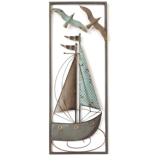 Frame Art Sailboat with Gulls 73x28
