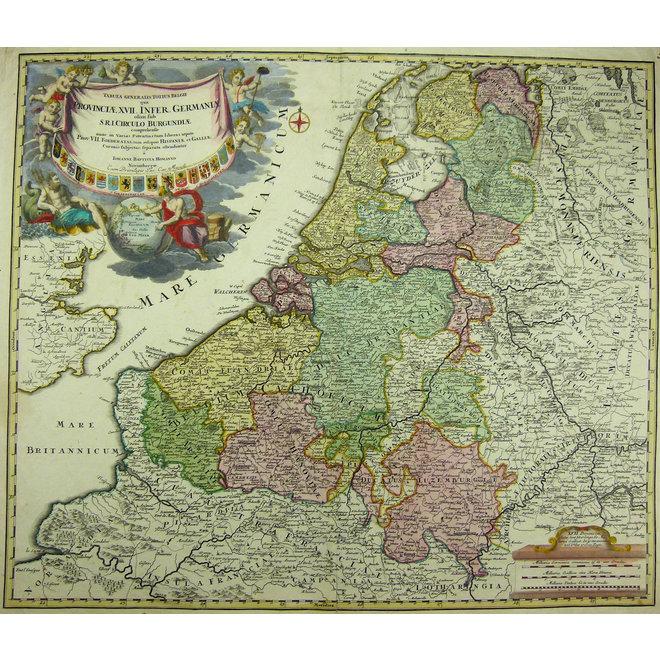 Collectie Gouldmaps - XVII Provinciën; J.B. Homann - Tabula Generalis Totius Belgii qua Provinciae XVII Infer. Germaniae - 1729