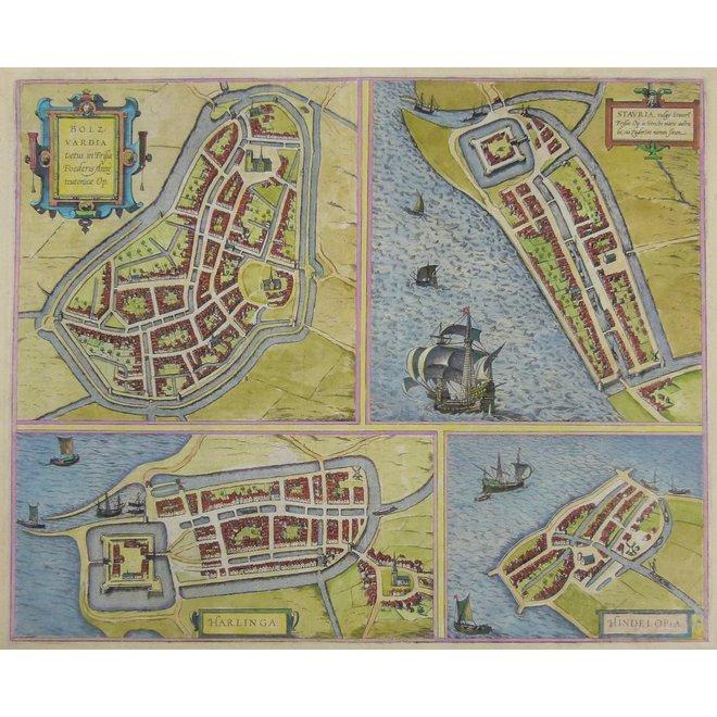 Collectie Gouldmaps - Bolsward, Harlingen, Stavoren, Hindelopen; G. Braun & F. Hogenberg – Bolzvardia (..) / Stavria (..) / Harlinga / Hindelopia – 1588-1617