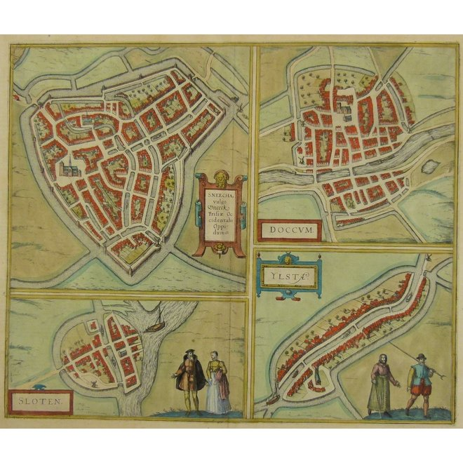 Collectie Gouldmaps - Sneek, Dokkum, Sloten, IJlst; G. Braun & F. Hogenberg – Sneecha (..) / Doccum / Sloten / Ylsta – 1588-1617