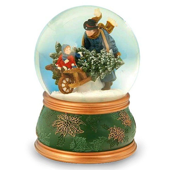 Sneeuwbol Vader en dochter halen kerstboom