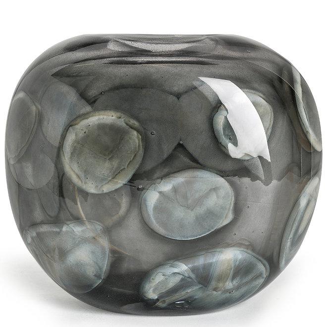 Glass Art Vaas Coco, Grey Cloudy