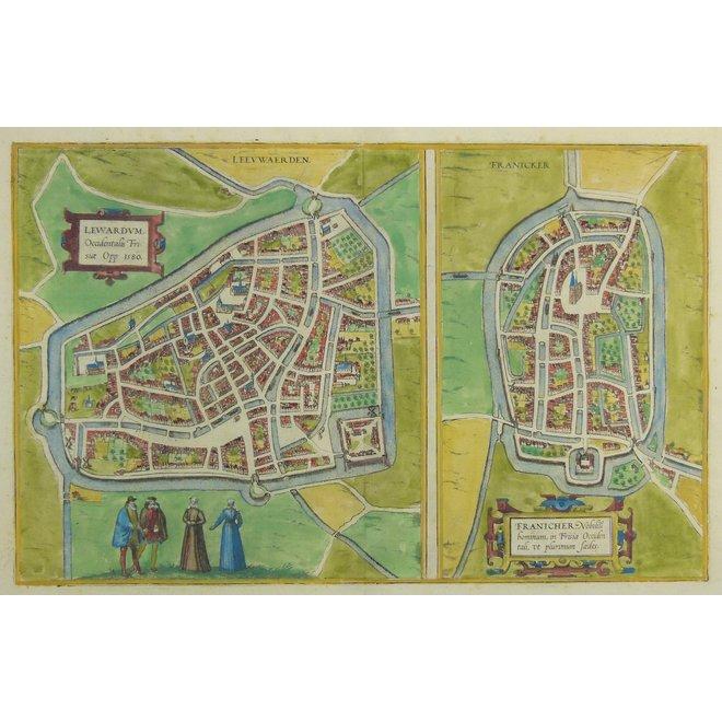Collectie Gouldmaps - Leeuwarden, Franeker; G. Braun & F. Hogenberg – Lewardum (..), Franicher (..) - 1572-1617