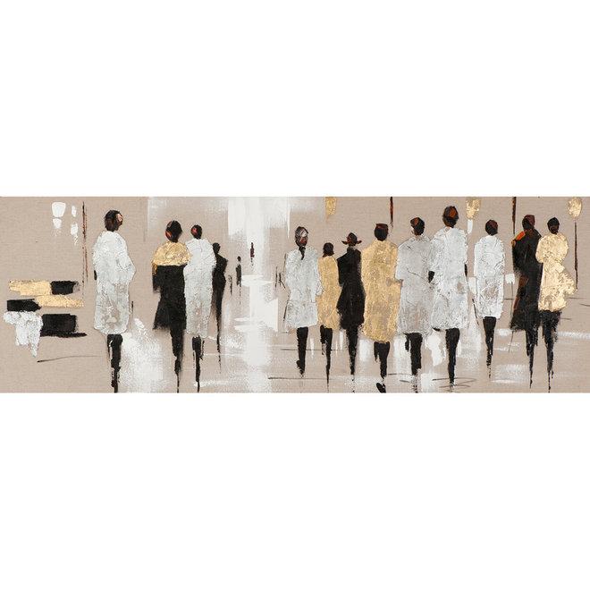 Canvas schilderij People in Silver & Gold 50x150