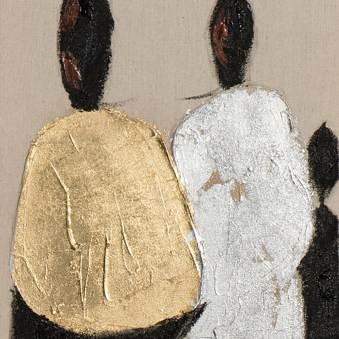 Canvas schilderij People in Silver & Gold A 25x150