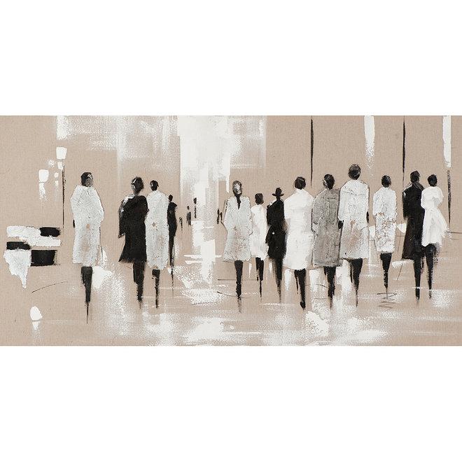 Canvas schilderij People in Rain 70x140