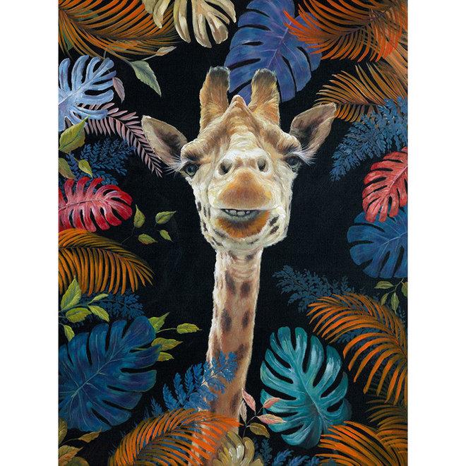 Canvas schilderij giraffe in colorful jungle 70x100
