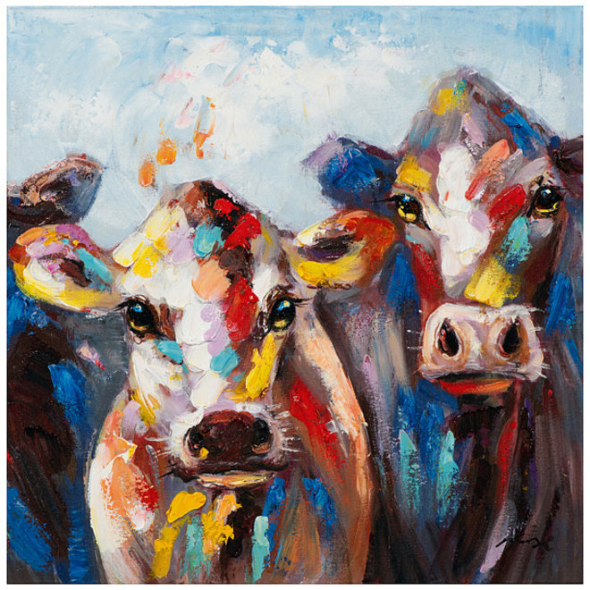 Painting Coloured Cows 60x60 B