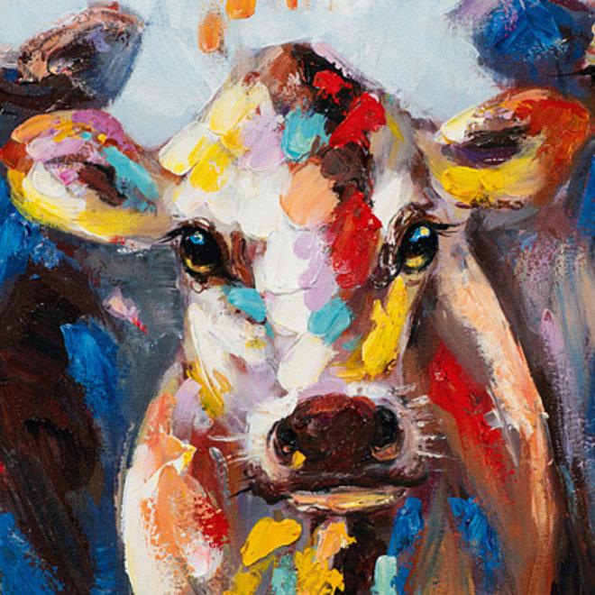 Canvas schilderij Coloured Cows 60x60 B
