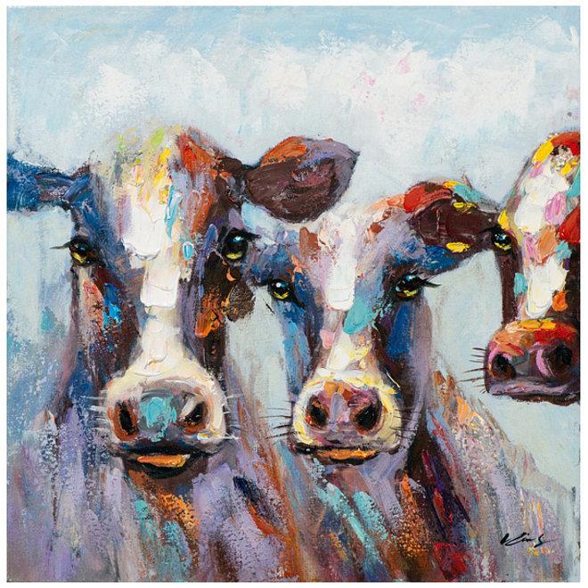 Canvas schilderij Coloured Cows 60x60 A