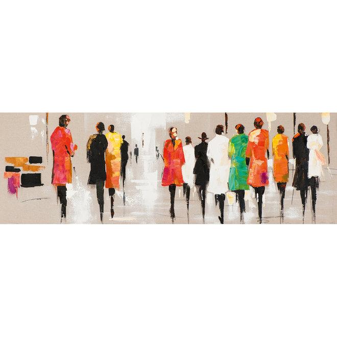 Canvas schilderij Multi Coloured People 50x150