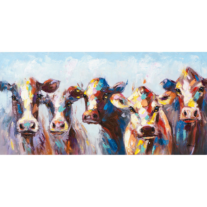 Painting A Group Of Cows 70x140