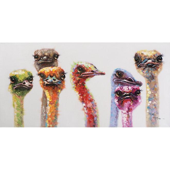 Canvas schilderij Colorful Ostrich 70x140